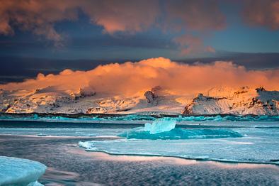 glacier at dawn