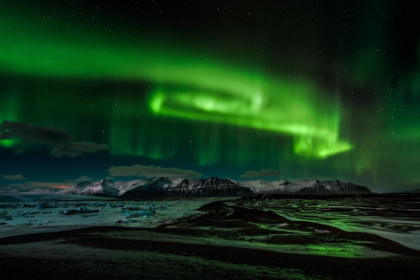 jokulsarlon northern light iceland