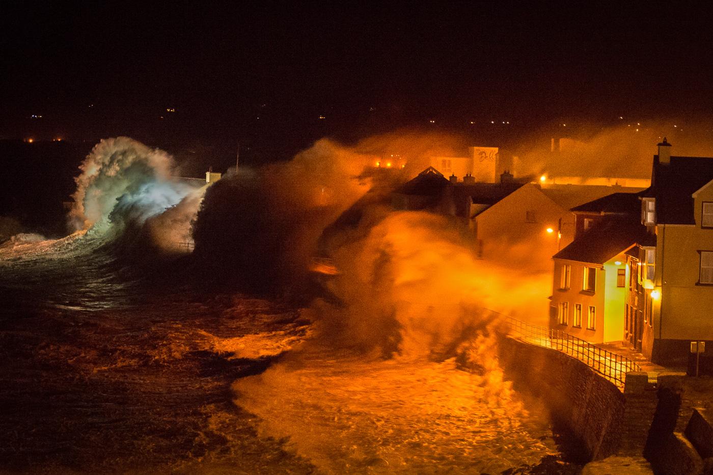 lahinch storm huge  waves promenade