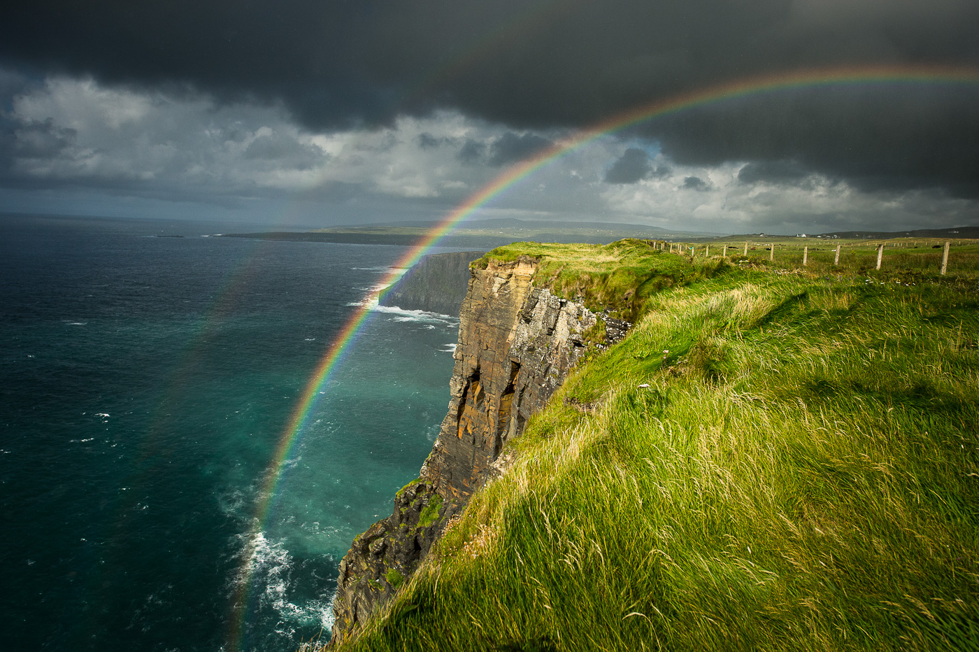 rainbow over cliffs of moher