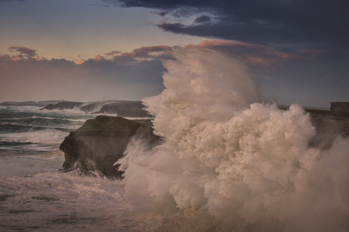 big storm waves crush cliffs at Kilkee