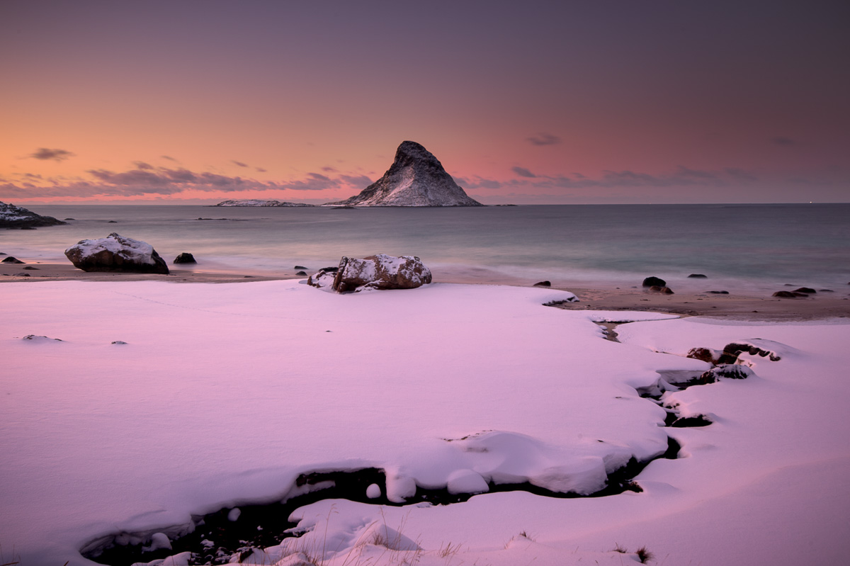 puffin island norway snow sunset winter