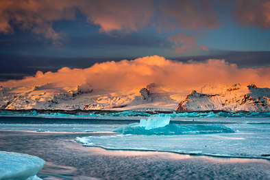 glacier at dawn