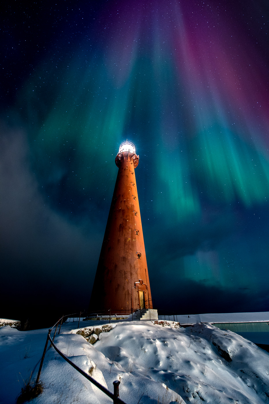 andenes lighthouse northern light norway