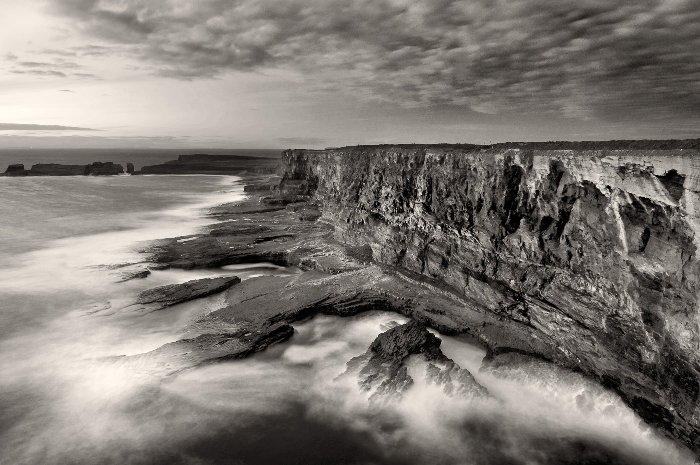 irish coastline black and white