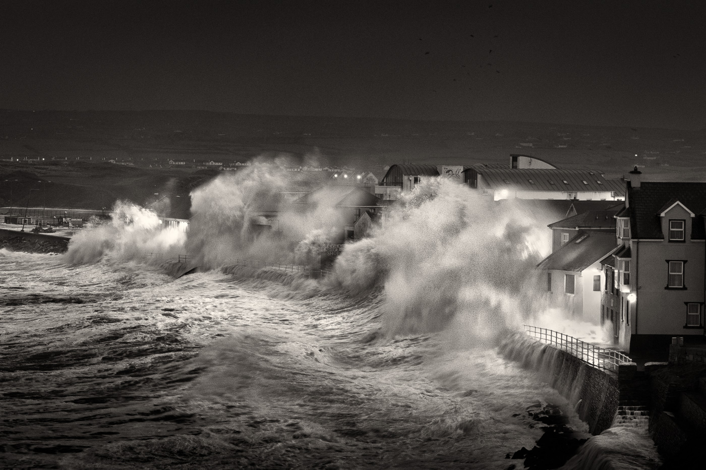 lahinch storm photo black and white