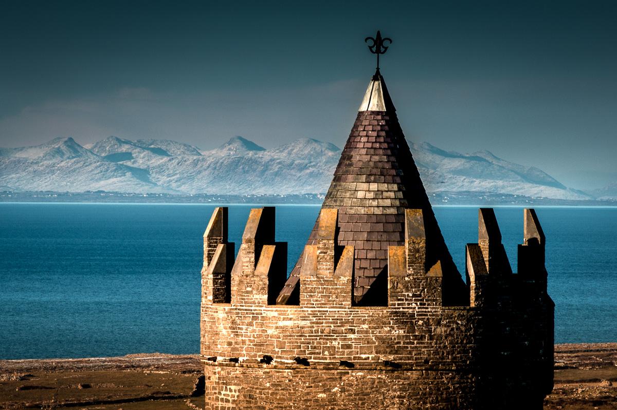 doolin castle wit  twelve pins of connemara under the snow