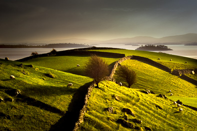 lough Corrib rolling hill stone wall Ireland