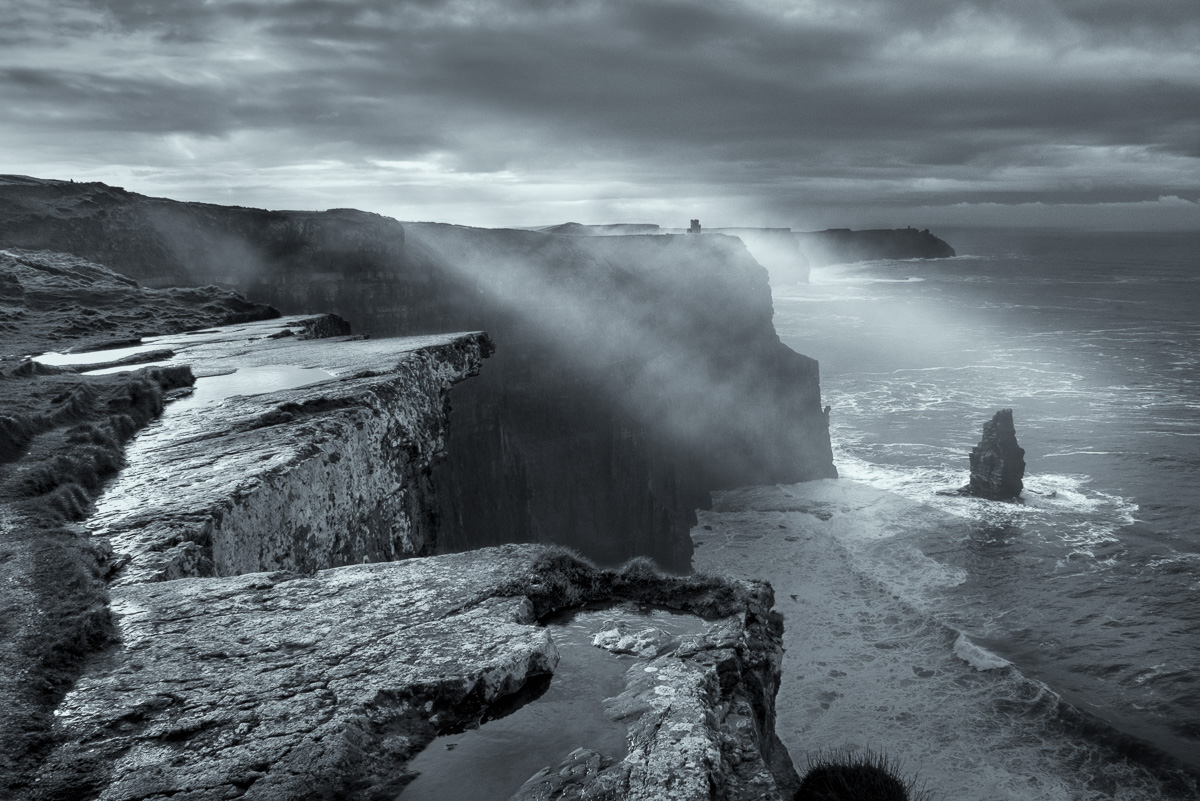 black and white cliffs of moher print