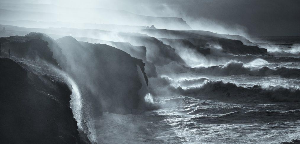 wild coast of Ireland art black and white photos