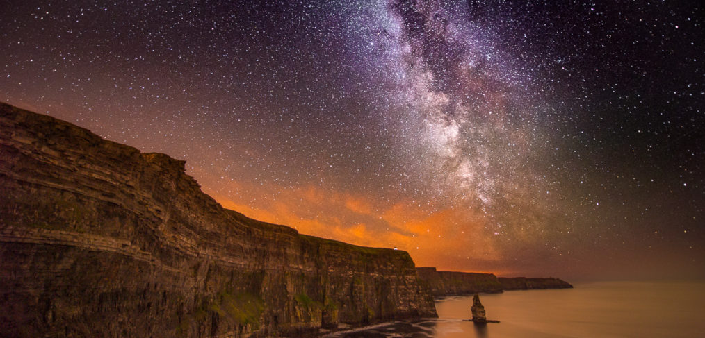 night sky cliffs