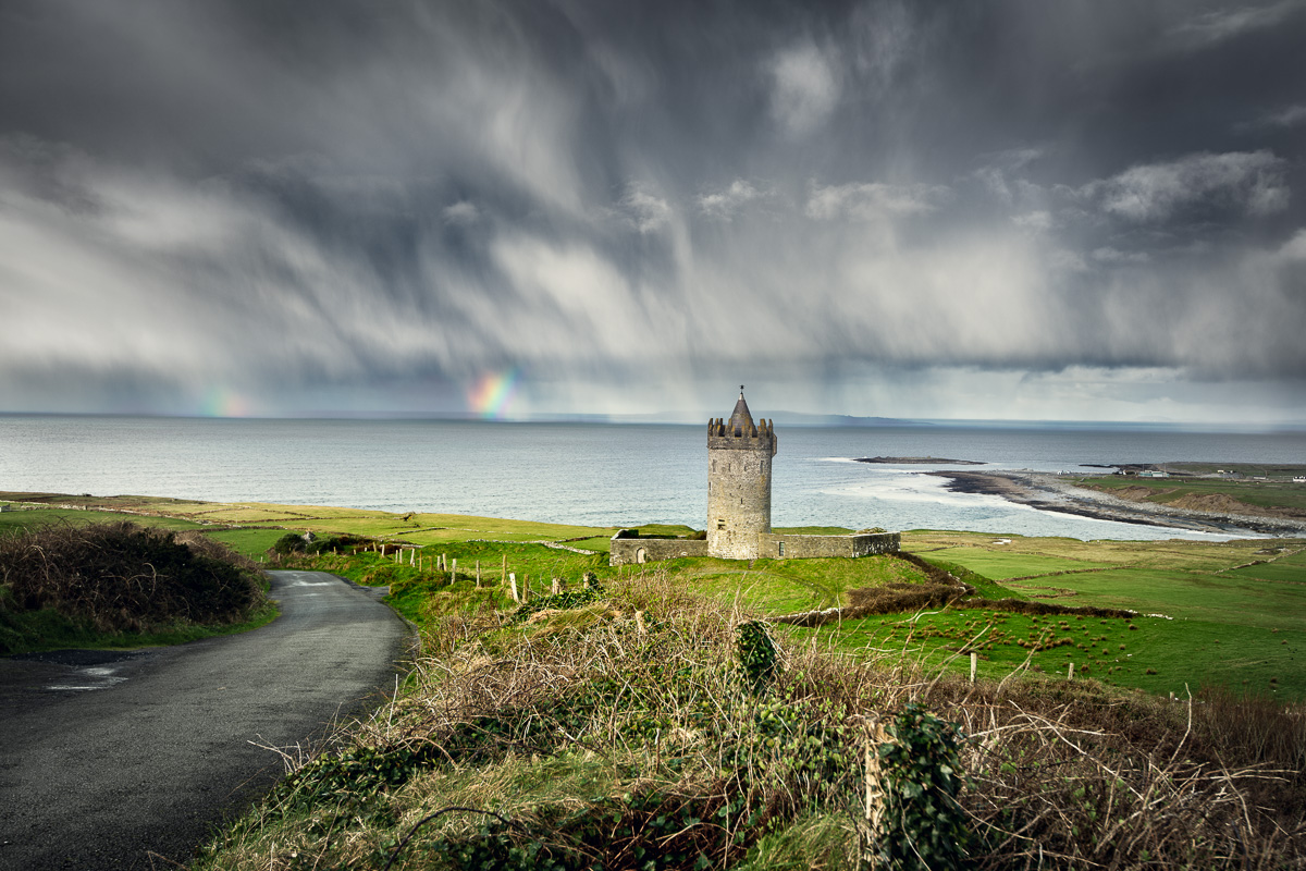 Doolin Castle stormy sky and rainbow